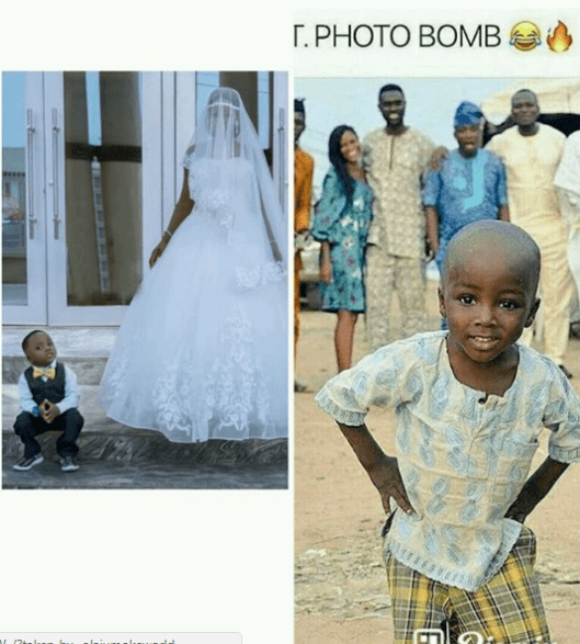 Olajumoke and little viral photobomber wow in wedding shoot Untitled 223