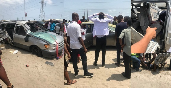 Groomsman Dies After Newly Wedded Couple's Car Tumbles Thrice In Lagos. (Photos) Groomsman dies after newly wedded couple   s car tumbles thrice in Lagos