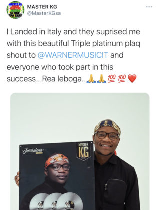 Master KG Receives 3x Platinum Plaque in Italy for 'Jerusalema'