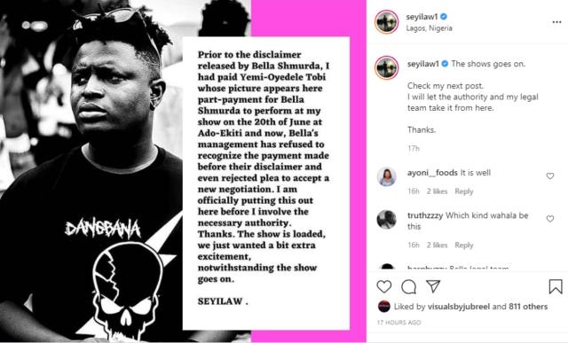 Bella Shmurda Apologizes to Seyi Law for Missing His Show in Ekiti