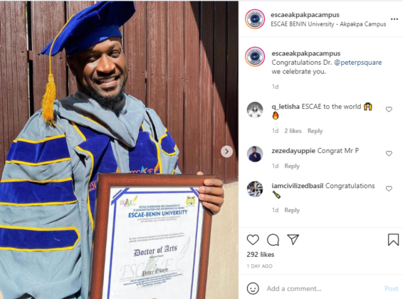 Mr P Awarded Honorary Doctorate Degree in a Benin University