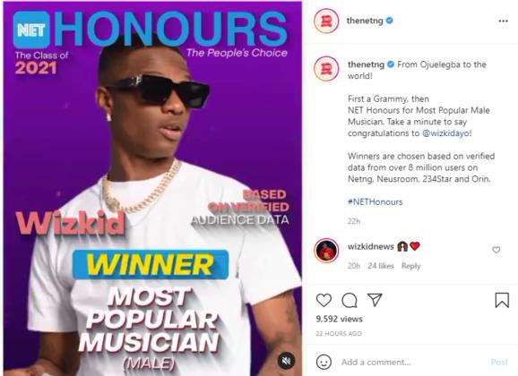 Wizkid and Davido Both Win Big at The Net's 2021 People Choice Awards