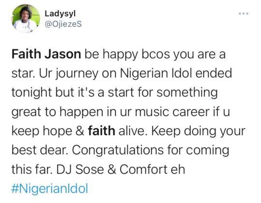 Nigerians React as Faith Jason Exits Nigerian Idol at Top 4 Stage