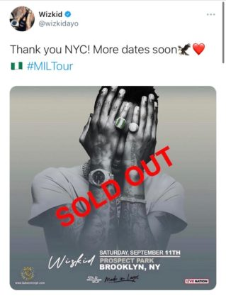 Tickets for Wizkid's Show in New York Got Sold Out Within Minutes!