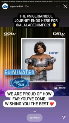 Comfort Has Been Evicted from Nigerian Idol at Top 3 Stage   NotjustOK