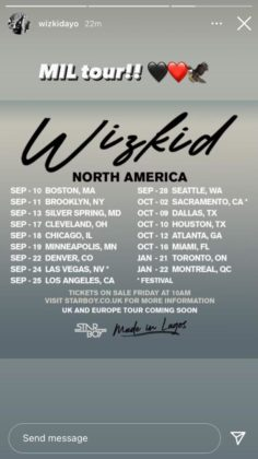 """Wizkid Releases Dates for 'Made in Lagos"""" Tour in North America"""