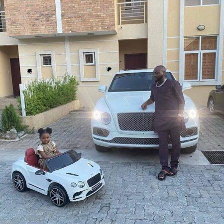 Davido Bentley Bentayga car with daughter