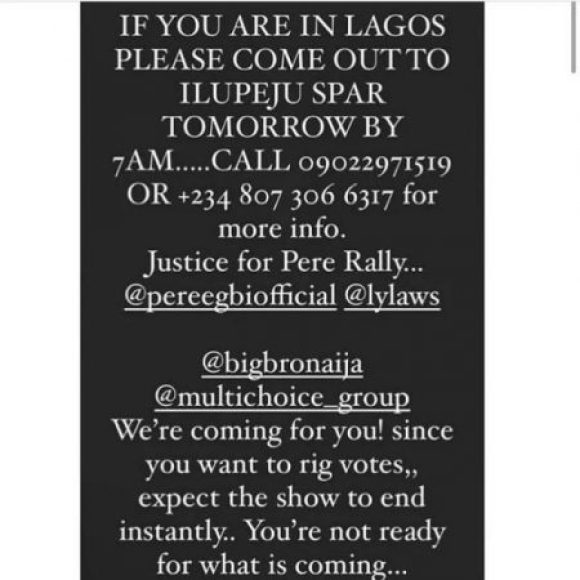 BBNaija: Pere's Fans Threaten to End Show over Alleged Rigged Votes