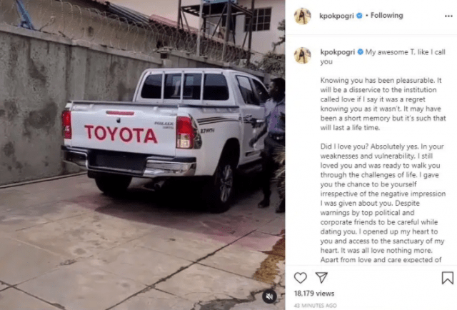 Finally, Tonto Dikeh's Ex- Lover Prince Kpokpogri Opens up on Sleeping with Jane Mena and Refurbished Car Gift