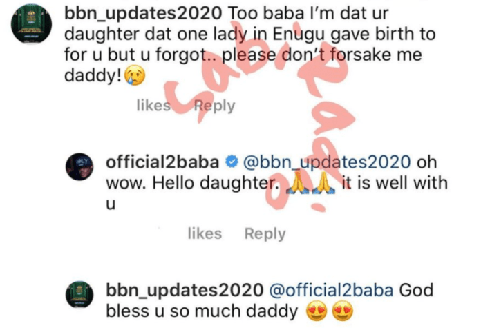 2Face Idibia Reacts As His Long Lost Daughter Contacts Him on Social Media