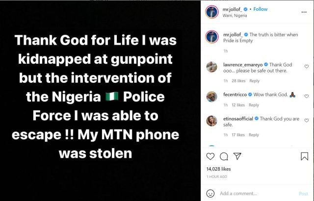Comic actor, Mr. Jollof rescued after being kidnapped at gunpoint