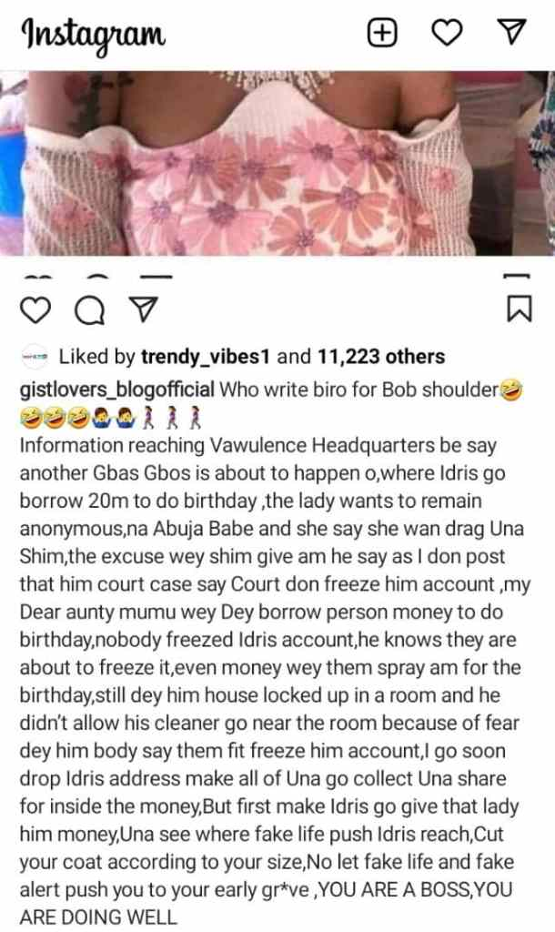 How bobrisky reportedly Borrowed N20M for His Birthday Party with Excuse of His Account Been Frozen
